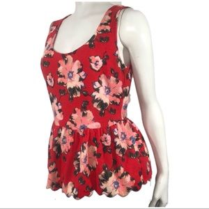 Anthropologie red floral peplum open back top S